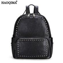 Haoqima Пояса из натуральной кожи Элитный бренд новый Дизайн 2017 первый Слои коровьей Для женщин рюкзак для девочек школьная сумка