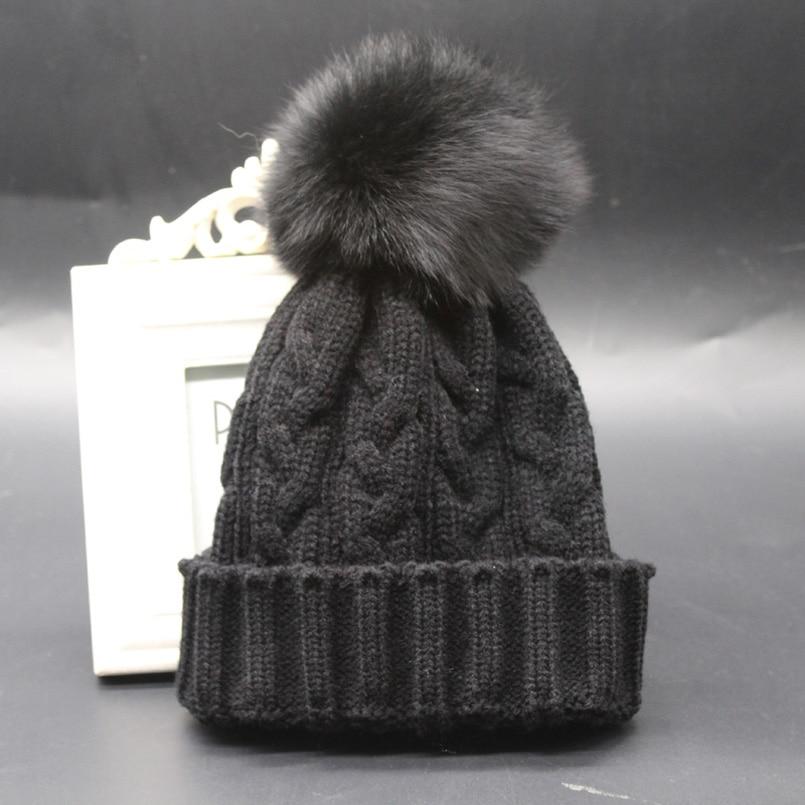 176ae1d3ba9 Aliexpress.com   Buy Fox Fur Pompom Wnter Hat Cap For Kids Warm Twist  Knitted Beanie Children Pompom Hats For Baby Girls from Reliable fur pompom  hat ...