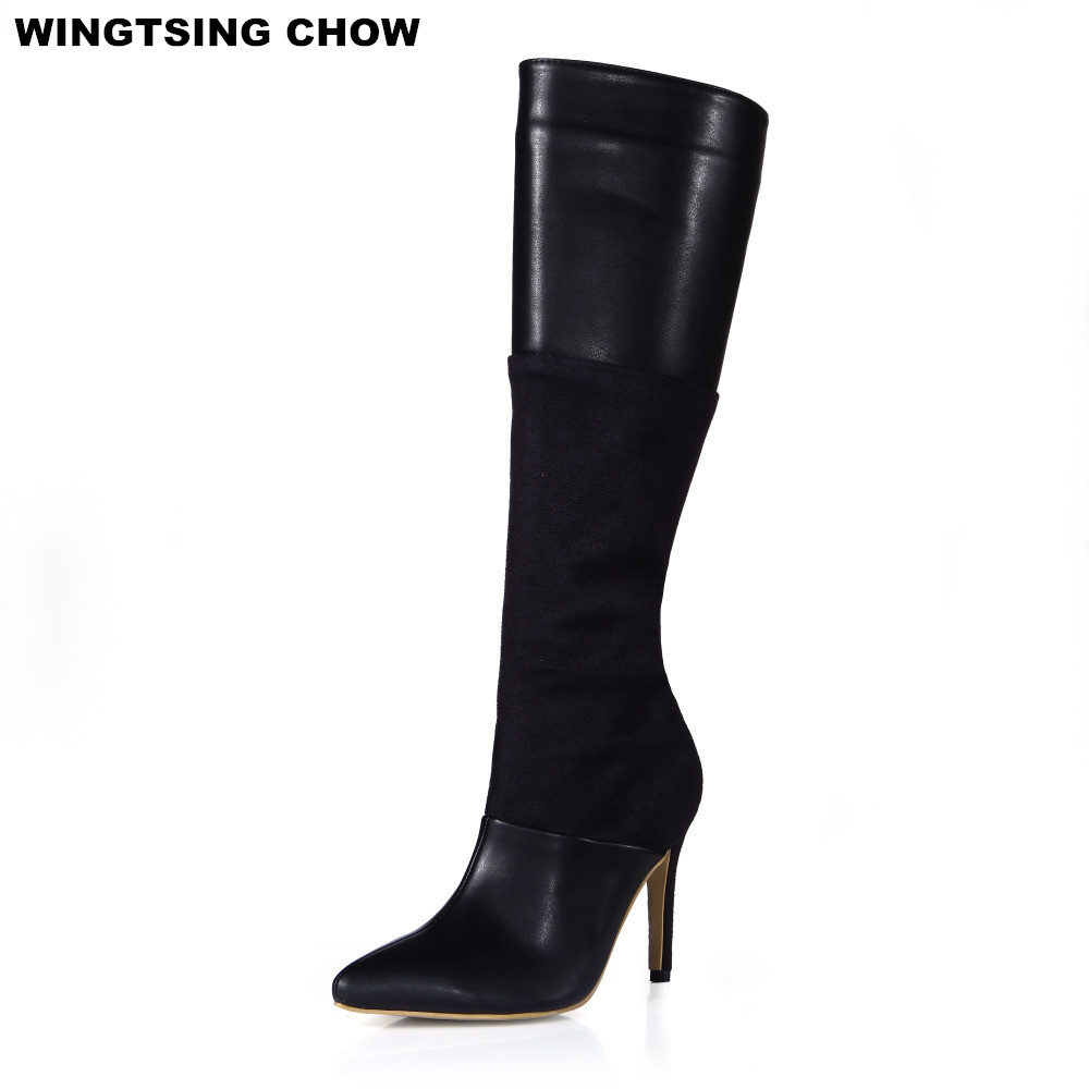 Pointed Toe Patent Leather Autumn Women Boots Sexy Knee High Boots Shoes Woman Pumps High Heel Motorcycle Boots Plus Size 43 2017 new women boots square toe fashion knee high boots motorcycle sexy thick high heel boots woman shoes black plus size 34 42