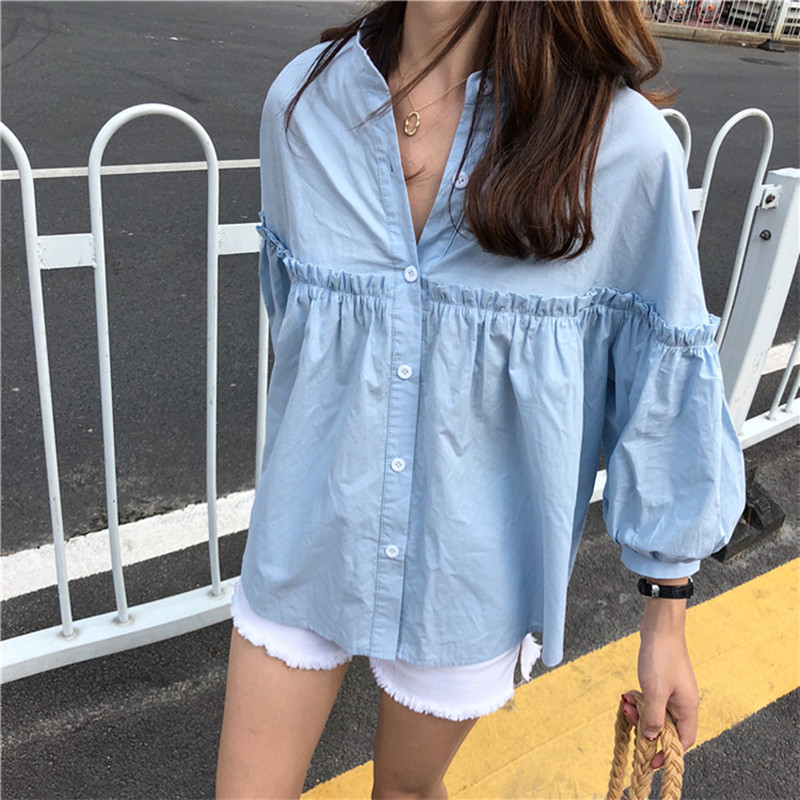 Alien Kitty Womens Solid Light Blue Sweet Shirt Girls New Summer Tops Loose Casual Lantern Sleeve Single-breasted Blouse Blusas