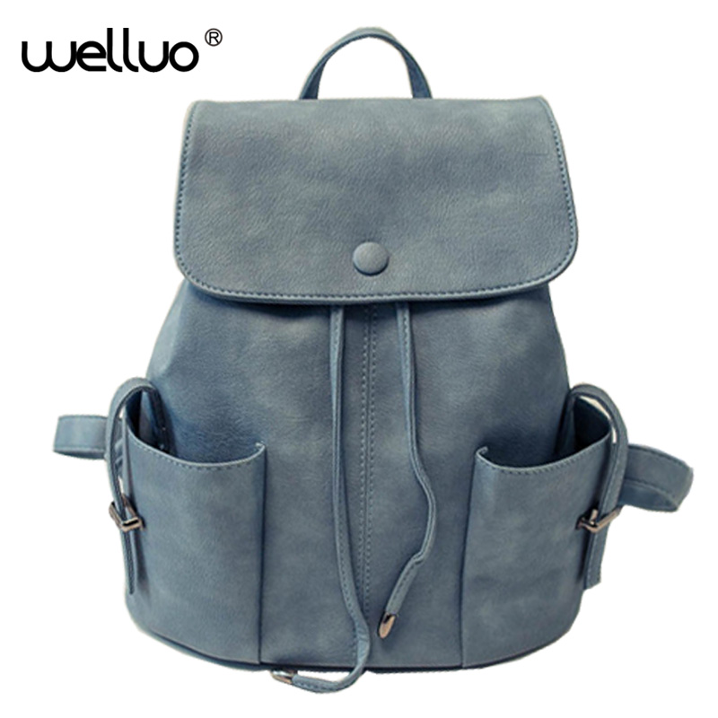 Round Button Backpack Women PU Leather Bag Women Bag Large Women Backpack Mochila Feminina School Bags for Teenagers 2017 XA129B miwind new backpack women school bags for teenagers mochila feminina women bag free shipping leather bags women leather backpack