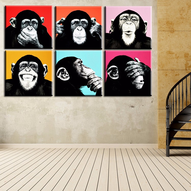 Buy 6 panels canvas print gorilla faces for Small canvas boards