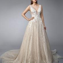 05f59673fcdd1 2019 New Arrive Deep V-neck Backless Sexy Wedding Gowns Vestido De  Casamento Appliques Shiny