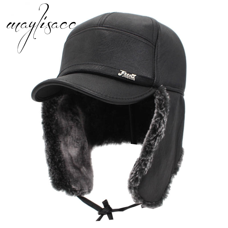Maylisacc Waterproof Men Bomber Hat Winter Warm Hat Thickened Leather Hat  Skullies Beanies for Men Outdoor Sports Cap ac2384b994f