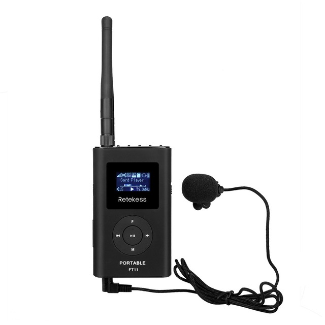 Retekess FT11 Handheld Portable Radio 0.3W FM Transmitter MP3 Broadcast Radio Transmitter For Car Meeting Tour Guide F9212A