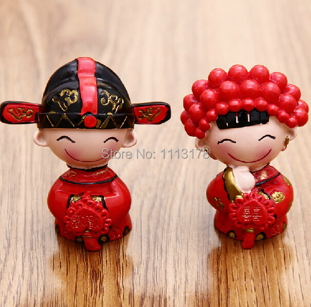 Chinese wedding cake toppers small size bride and bridegroom ...