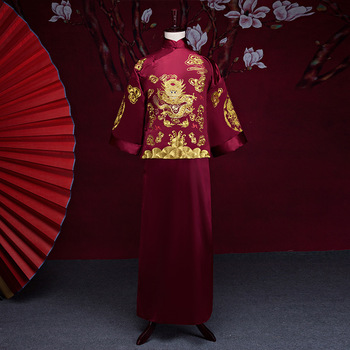 Burgundy Embroidery Dragon Men Tang Suit Bridegroom Chinese Wedding Costume Traditional Marriage Long Robe Gown Hanfu Clothing