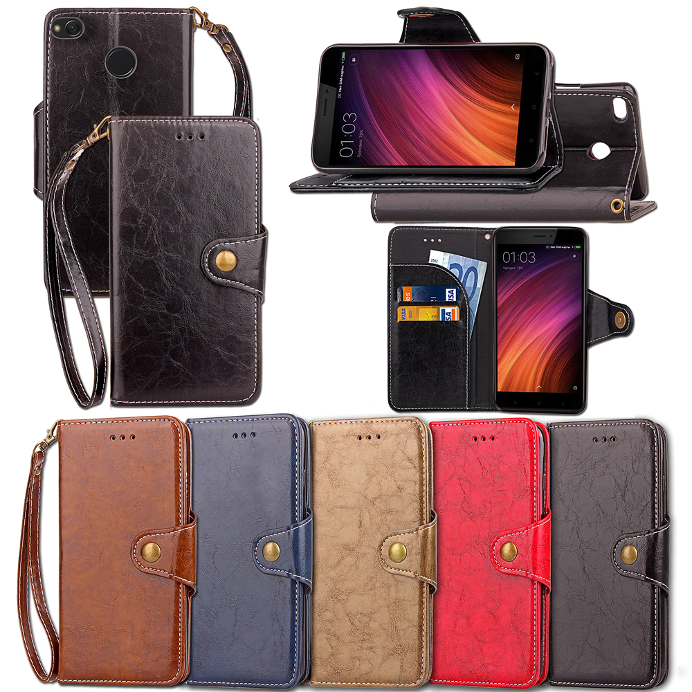 Xiaomi Redmi 4x Case Prime PU Leather Silicone Xiomi Redmi 4x Covers Phone Shell Fundas  ...