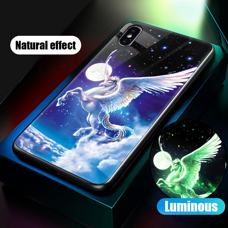 Luminous Case For iPhone X XS MAX Case For iPhone 7 6 s 8 Plus X 10 Luxury PC+Tempered Glass Pattern Silicone Edge Cover (28)