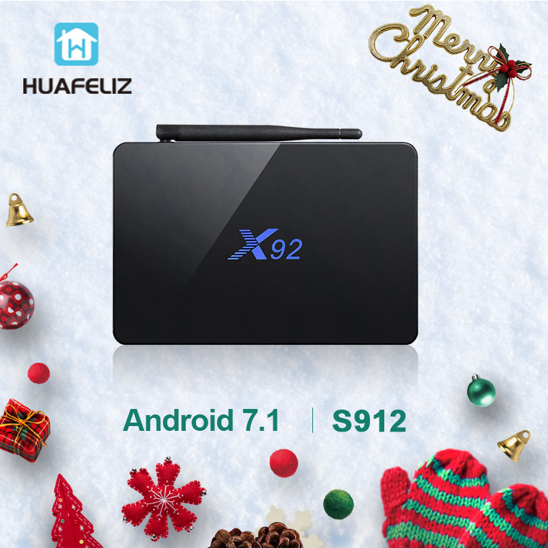 X92 tv box Amlogic S912 Smart tv box для Android 7,1 4k WiFi Media Player Восьмиядерный HDMI 2,0 3g 32 г BT телеприставки и мини-клавиатура