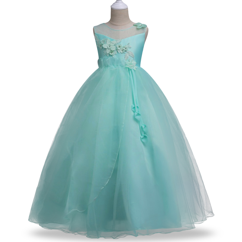 2017 New Fashion Elegant Princess Birthday Party Dress for Girl Wedding  Flower Christmas Pageant Formal long Dress Kids Clothes long criss cross open back formal party dress