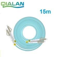 Оптоволоконный соединительный кабель 15 м LC SC FC ST UPC OM3, дуплексный перемычка, 2 ядерный Соединительный шнур, многорежимный 2,0 мм стандарта