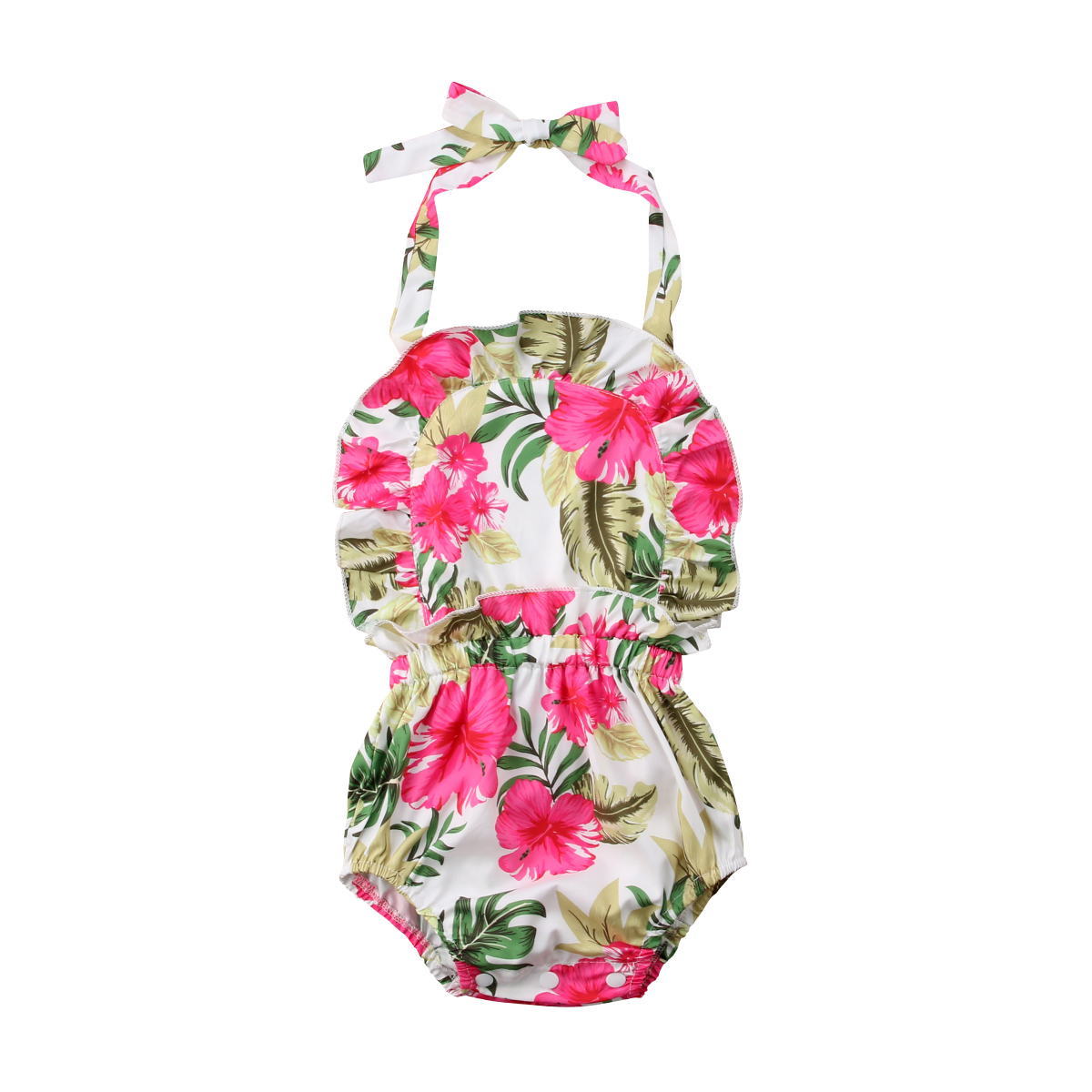Toddle Baby Girls Infant Clothing Ruffles Floral Strap Jumpsuit Bodysuit Infant Halter Backless Summer Clothes Baby Girl 0-24M