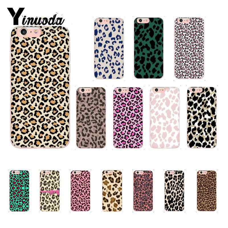 Yinuoda Fashion Colorful Printed Leopard Soft Silicone TPU Phone Cover for iPhone 6S 6plus 7 7plus 8 8Plus X Xs MAX 5 5S XR 10