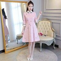 New Arrival Spring Autumn Cheongsam Pink Fashion Chinese Women S Dress Elegant Qipao Vestidos Size S