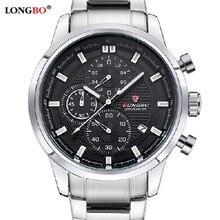 2016 Longbo mens cronómetro Cronógrafo militar reloj de cuarzo marca deportiva impermeable moda casual relojes de lujo relogio masculino