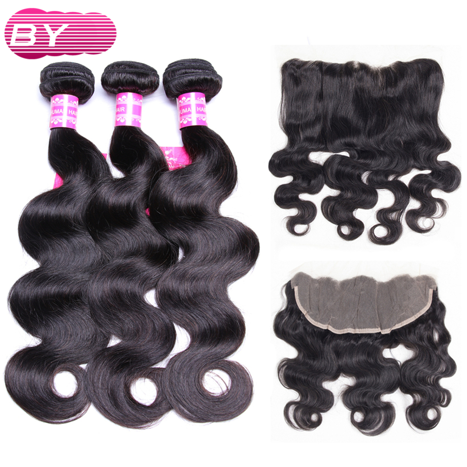 BY Indian Hair Body Wave 3 Bundles With 13x4 Frontal Non Remy Hair Bundle For Hair
