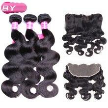 Индийских волос Для тела волна 3 Комплект S с 13×4 фронтальная-Волосы Remy Комплект для волос Salon очень низкий коэффициент длинные волосы РСТ pp 5%