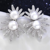 [ZHIXI] Pearl Earrings Silver Fine Jewelry White Cultured Freshwater Stud Earrings Big Trendy Gift for Women Hyperbole E1028