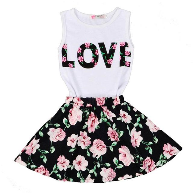 Children's Clothing Set Little Girls Shirts Top+Skirt 2pcs Set Girls Boutique Outfits Suit Cherry Flower 2-11 Yrs Kids Clothes