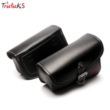 Triclick Left Right Side Saddle Bag Black Motorcycle Bags Luggage Storage Tool Bag PU Leather Saddlebag Universal New For Harley bjmoto brown motorcycle pu leather left right side saddlebag saddle bag luggage bag tool bags storage for harley sportster