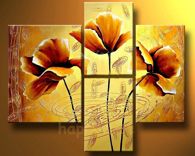 4 piece abstract modern panel canvas wall art yellow poppy floral ...
