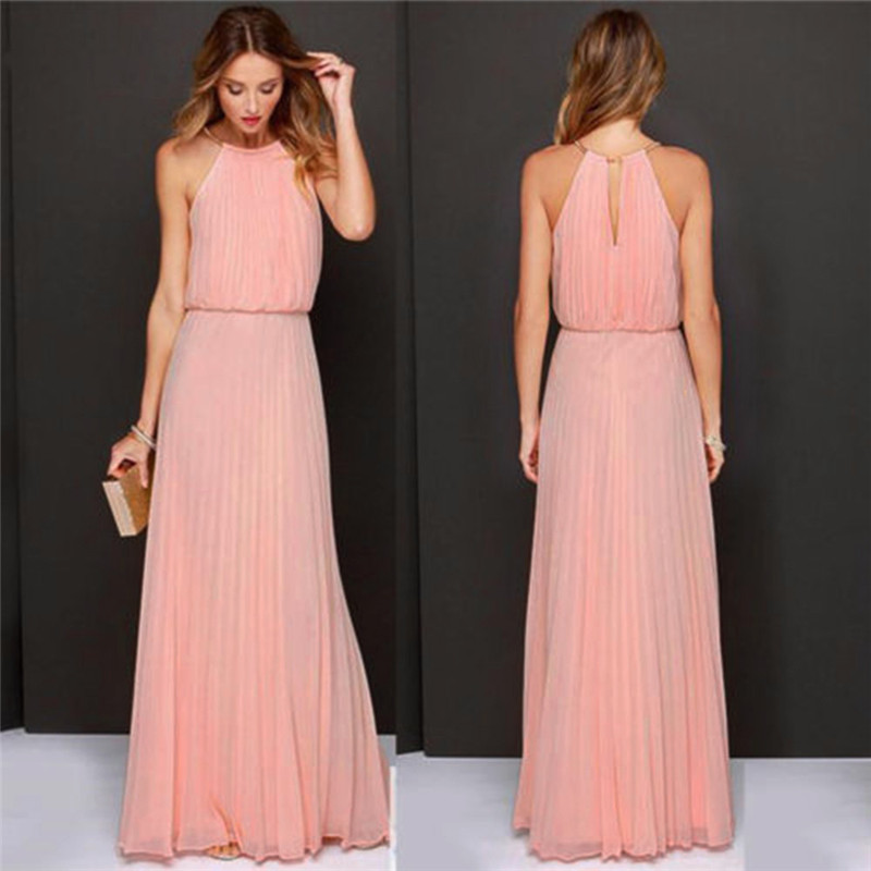 Sommer Kleid Frauen Formal Chiffon-Sleeveless Prom Abend Abend Party Lange Maxi Kleid Mode Elegante vestido