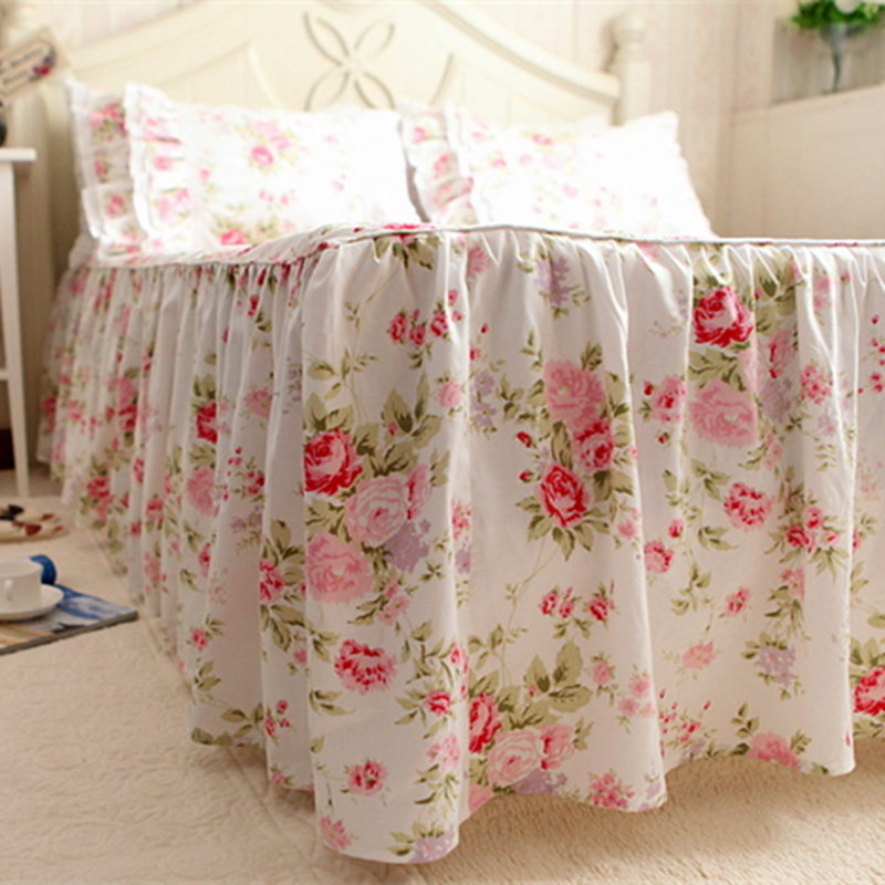 Garden rose print bedspread 100% cotton bedding princess bed sheet handmade twinkle processing bedspreads wedding bed skirt