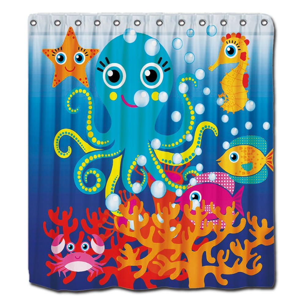 Fish shower curtains for kids - Custom Shower Curtains Kids Under The Sea Ocean Aquatic Octopus Fish 72 X80 Waterproof