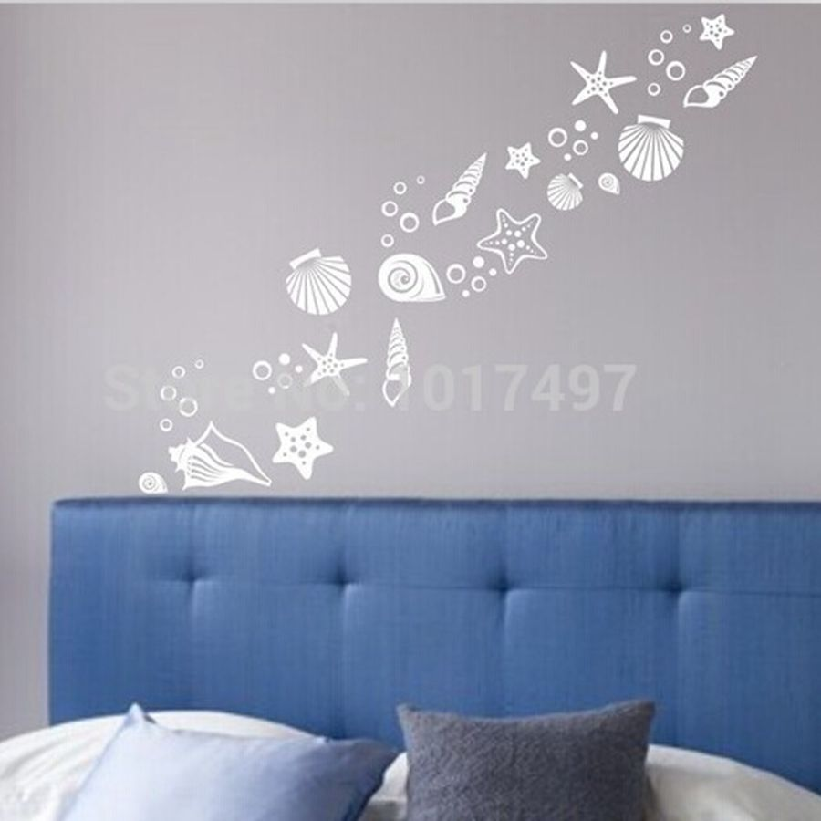 Beach themed room decor - Set of 30 fancy sea beach shell wall decals ,  vinyl sea shell wall stickers free shipping N2003
