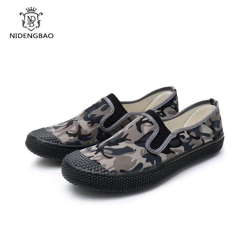 Classic Camouflage Work Casual Shoes Men Slip-On None Slip Men Shoes Comfortable Light Fashion Working Shoes For Man Big Size