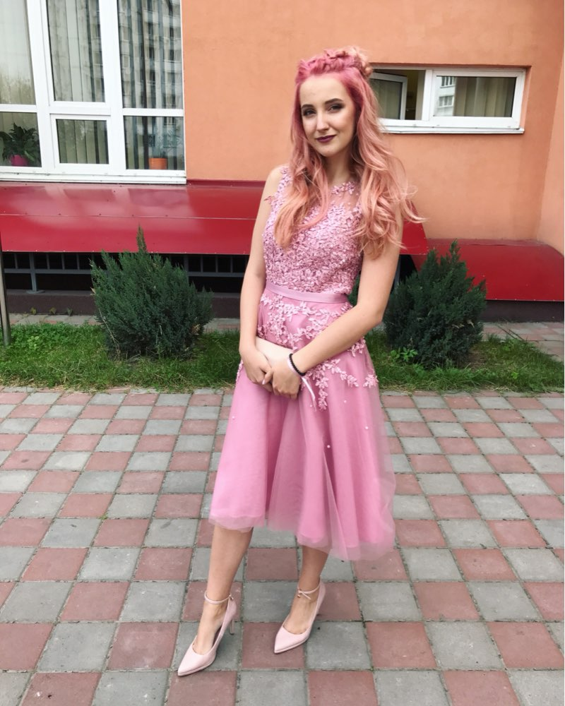 Image 5 - In stock fast ship Short beaded Cocktail Dresses Dusty pink Lace Cheap A line Tulle Sleeveless Cocktail Party Prom Dress 2019-in Cocktail Dresses from Weddings & Events