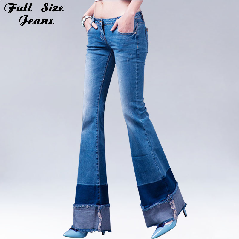 Patchworked Flare Jeans Slim Stretch Long Pants With Wide Leg Blue Denim Jeans Bell Bottom Boot Cuts Skinny Jeans free shipping 2017 new fashion long spring and summer bell bottom jeans boot cut women slim long trousers lacing up flare pants