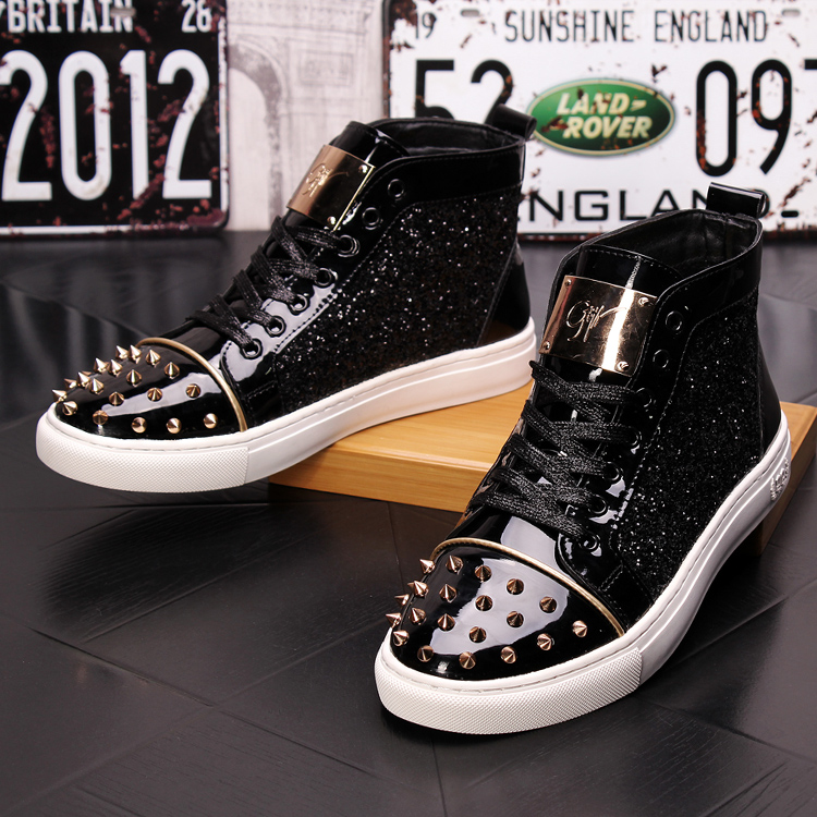 CuddlyIIPanda Men Fashion Punk Sneakers Metal Casual Platform High Top Shoes Flat Martin Boots Male Rivets Prom Shoes Zapatillas 20