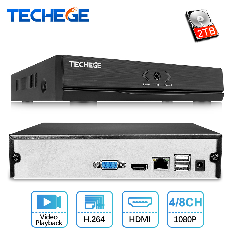 4CH 8CH Techege NOVO MINI NVR NVR Full HD 1920*1080 P ONVIF P2P 2.0 Para A Câmera IP HDMI gravador de Vídeo em rede