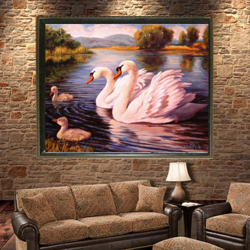 5D DIY Round Diamond Painting Kits Embroidery Cross Stitch Soulmate Swans Mosaic