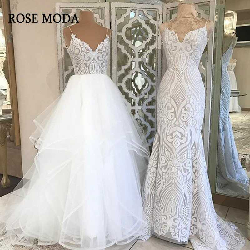 Rose Moda V Neck Princess Tulle Wedding Dresses 2019 Thin Straps Puffy Bridal Dress with Lace Custom Make