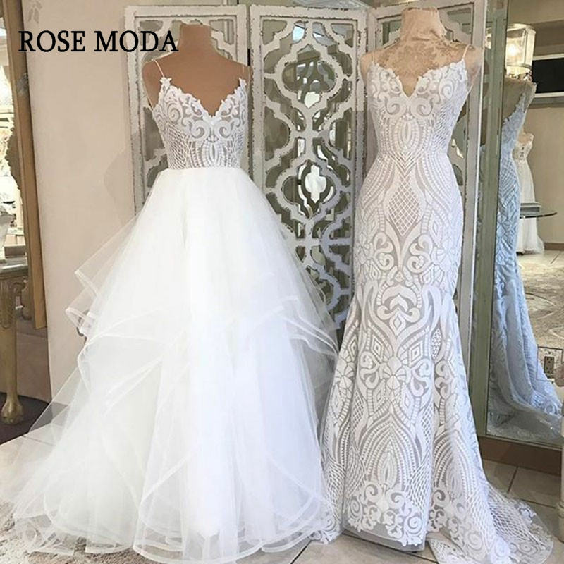 Rose Moda V Neck Princess Tulle Wedding Dresses Thin Straps Puffy Bridal Dress With Lace Custom Make