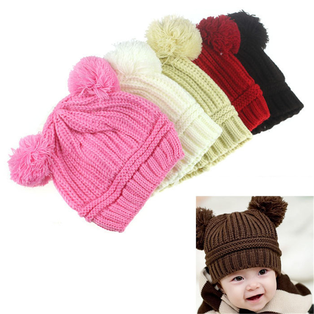 6-18M Baby Hats With Pompom Ball Infant For Girls Boys Crochet Cotton Knitted Winter Warm Bobble Beanie Kids Caps BTTF