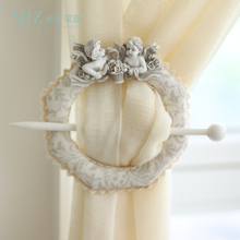 ФОТО miz home pure cotton vintage europe style resin angel doll e-eco friendly curtain bucket wite curtain rod