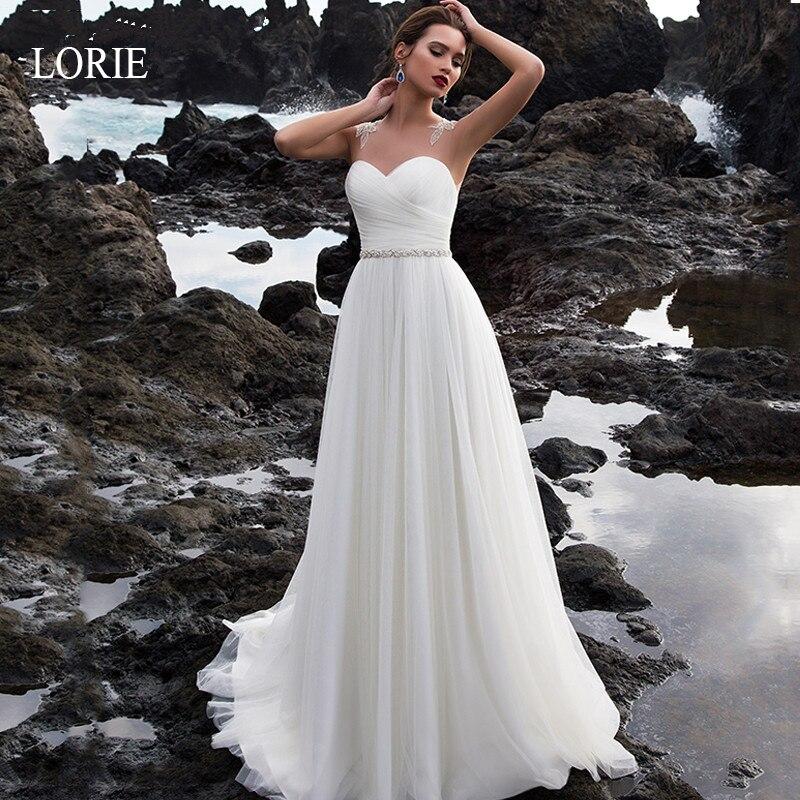 LORIE 2019 New Summer Wedding Dresses Illusion Bridal Gowns Sleeveless Simple Beach Chiffon Wedding dresses Strapless