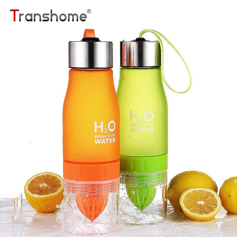 Botella de agua de fruta Transhome con infusor 650 ml de plástico BPA libre de jugo de limón botella de bebida de agua Infusor de frutas