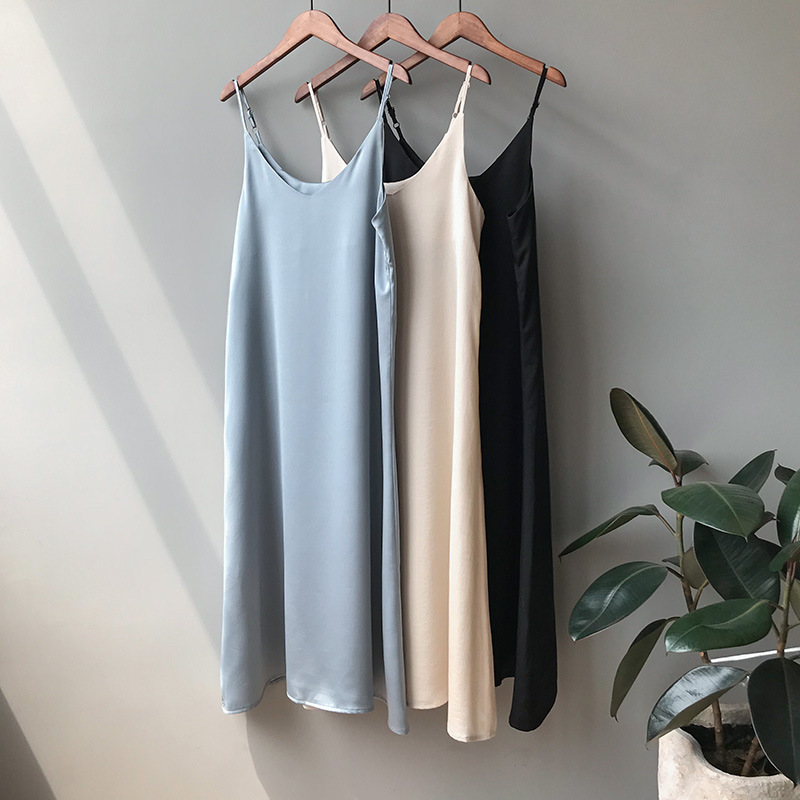 Buy Adjustable Spaghetti Strap Summer Dress Women 2019 Vintage Long Satin Dresses Black Sexy Camisole Vestidos Beach Dress Casual for only 29.98 USD