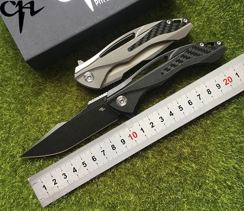 CH3519 Flipper folding knife S35VN Blade ball bearings TC4 Titanium handle camping hunting pocket fruit Knives EDC tool-in Knives from Tools    1