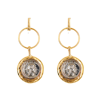 Vintage Gold Color Emboss Portrait Coins Earrings For Women Fashion Retro Statement Long Face Earrings Indian Jewelry Brincos earrings