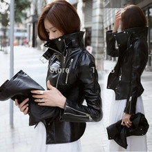 new PU leather motorcycle jacket outerwear plus size stand collar outerwear free shipping