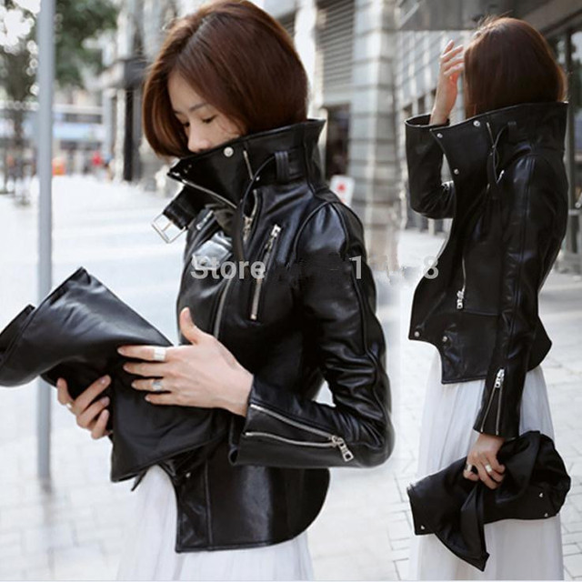 new PU leather motorcycle jacket outerwear plus size stand collar outerwear free shipping xl