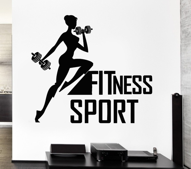 Fitness sport vinyl wall decal woman bodybuilding crossfit