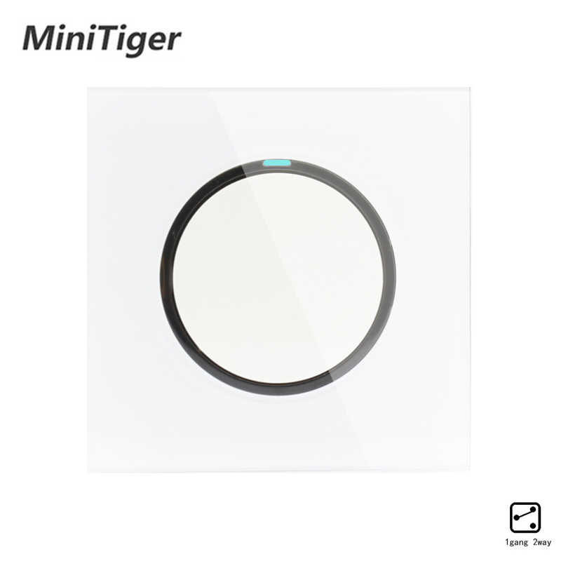 Minitiger 2019 New Arrival 1 Gang 2 Way Random Click On / Off Wall Light Switch With LED Indicator Crystal Glass Panel