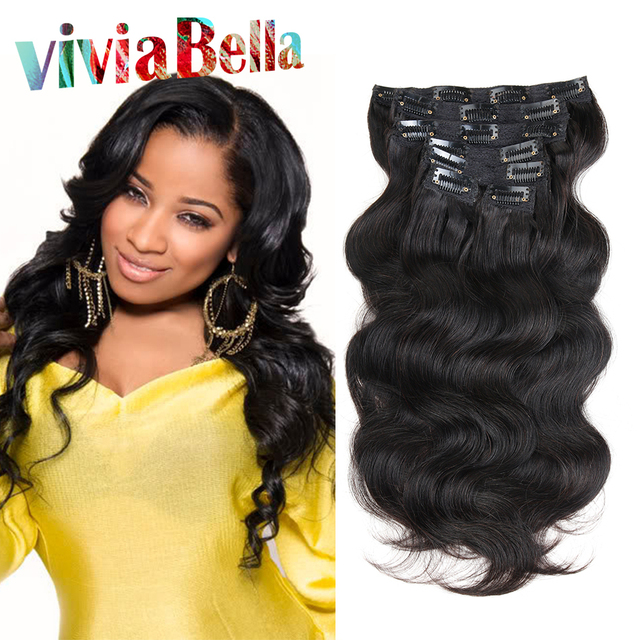 Clip In Hair Extensions Human Hair 7pcsset Wavy Brazilian Clip Ins
